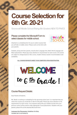 Course Selection for 6th Gr. 20-21
