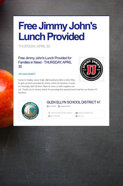 Free Jimmy John's Lunch Provided