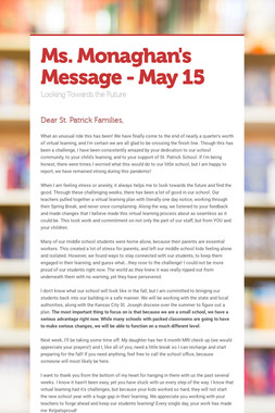 Ms. Monaghan's Message - May 15