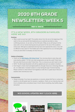 2020 8th Grade Newsletter: Week 5