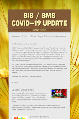 SIS / SMS COVID-19 UPDATE