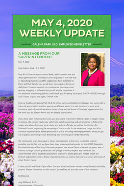 May 4, 2020    Weekly Update
