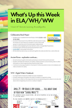 What's Up this Week in ELA/WH/WW