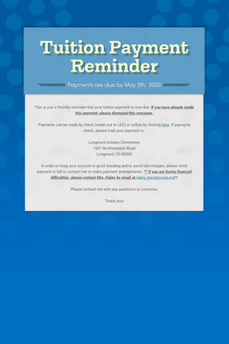 Tuition Payment Reminder