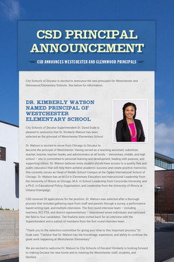 CSD Principal Announcement