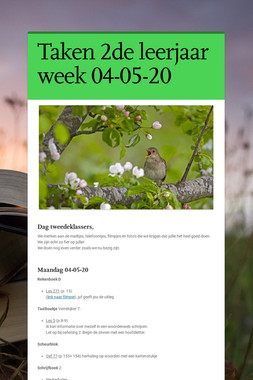 Taken 2de leerjaar week 04-05-20