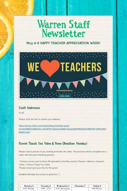 Warren Staff Newsletter