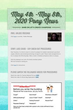 May 4th -May 8th, 2020 Pony News