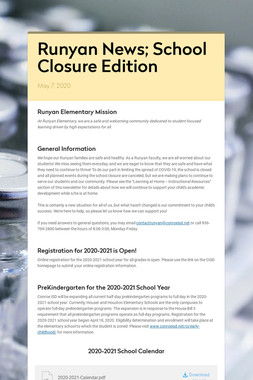 Runyan News; School Closure Edition