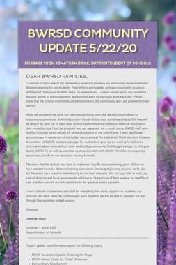 BWRSD Community Update 5/22/20