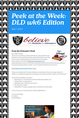 Peek at the Week: DLD wk6 Edition