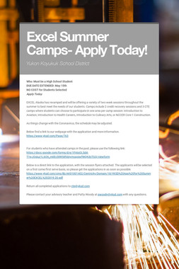 Excel Summer Camps- Apply Today!