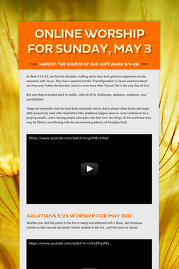 Online Worship for Sunday, May 3