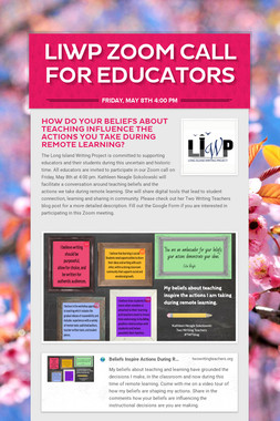 LIWP Zoom Call for Educators