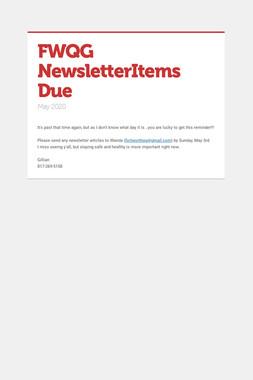 FWQG NewsletterItems Due