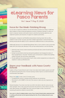 eLearning News for Pasco Parents