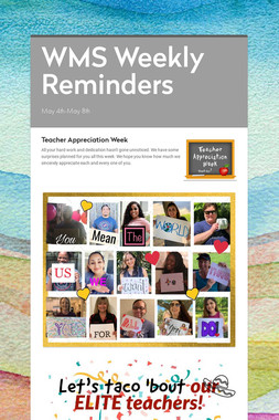 WMS Weekly Reminders