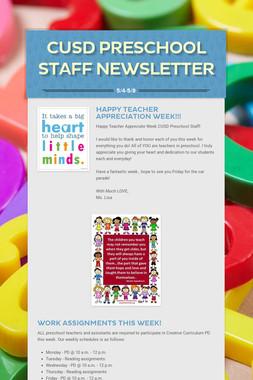 CUSD Preschool Staff Newsletter