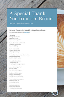 A Special Thank You from Dr. Bruno