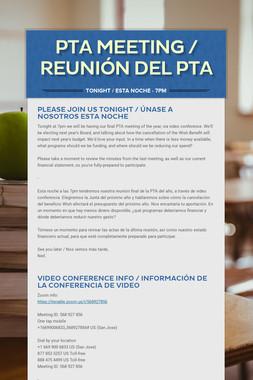 PTA MEETING  / REUNIÓN DEL PTA