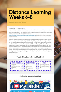 Distance Learning Weeks 6-8