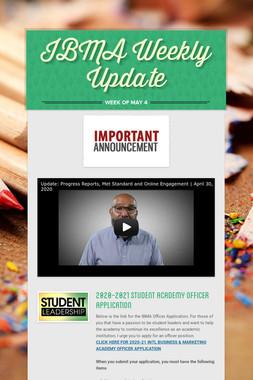 IBMA Weekly Update