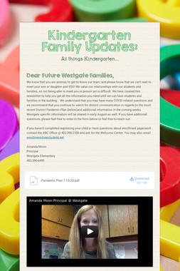 Kindergarten Family Updates: