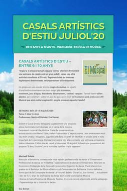 CASALS ARTÍSTICS D'ESTIU  JULIOL'20