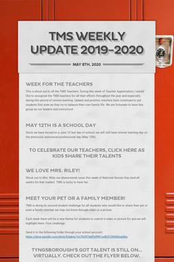 TMS Weekly Update 2019-2020