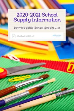 2020-2021 School Supply Information