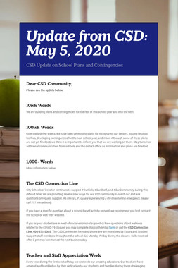 Update from CSD: May 5, 2020