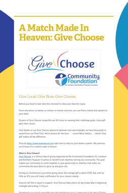 A Match Made In Heaven: Give Choose