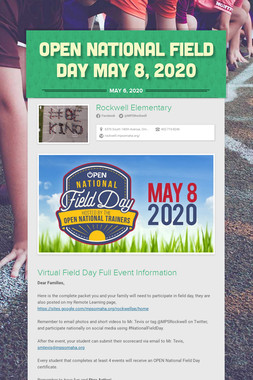Open National Field Day May 8, 2020