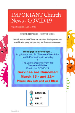 IMPORTANT Church News - COVID-19