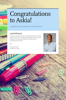 Congratulations to Askia!