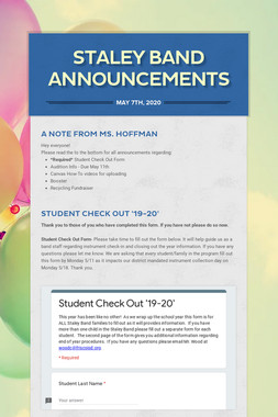 Staley Band Announcements