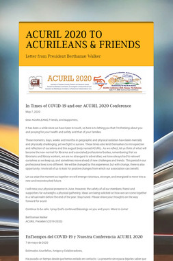 ACURIL 2020 TO ACURILEANS & FRIENDS