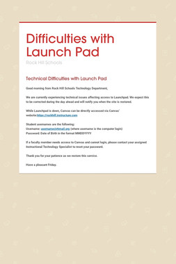 Difficulties with Launch Pad