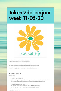 Taken 2de leerjaar week 11-05-20