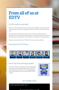 From all of us at EDTV