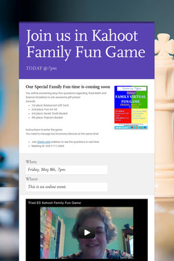 Join us in Kahoot Family Fun Game