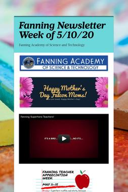Fanning Newsletter Week of 5/10/20