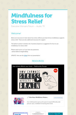 Mindfulness for Stress Relief