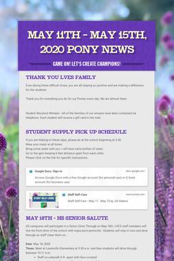 May 11th - May 15th, 2020 Pony News