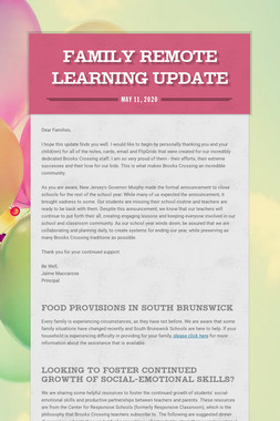 Family Remote Learning Update