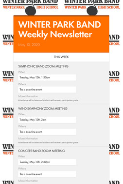 WINTER PARK BAND Weekly Newsletter