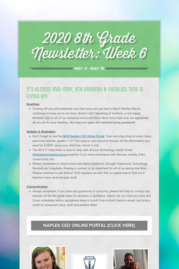 2020 8th Grade Newsletter: Week 6