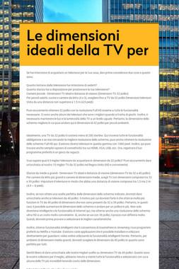 Le dimensioni ideali della TV per