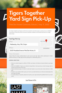 Tigers Together Yard Sign Pick-Up
