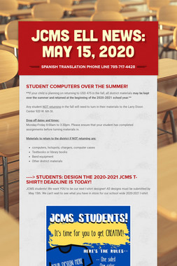 JCMS ELL News:   May 15, 2020